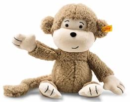 Steiff Affe Brownie - 30 cm - Plüschaffe mit langen Armen - Soft Cuddly Friends - Kuscheltier für Kinder - beweglich & waschbar - braun (060304) - 1