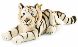Steiff Bharat Tiger - 43 cm - Plüschtiger liegend - Kuscheltier für Kinder - weich & waschbar - weiß (066153) - 1