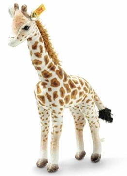 Steiff Magda Massai Giraffe, Original Plüschtier 26 cm, Wildtier Plüschgiraffe stehend, Kuscheltier für Kinder, National Geographic, zum Spielen & Kuscheln, waschbar, Stofftier gefleckt (024412) - 1