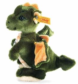 Steiff Raudi Drachenjunge - 17 cm - Kuscheltier für Kinder - Plüsch Drache stehend - weich & waschbar - grün / orange (015076) - 1