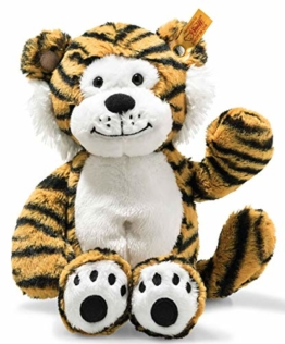 Steiff Toni Tiger - 30 cm - Plüschtiger sitzend - Kuscheltier für Kinder - Soft Cuddly Friends - weich & waschbar - gestreift (066146) - 1