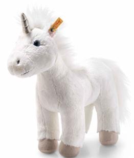 Steiff Unica Einhorn - 35 cm - Plüscheinhorn stehend - Kuscheltier für Kinder - Soft Cuddly Friends - weich & waschbar - weiß (087790) - 1