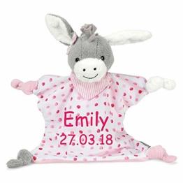 Sterntaler Schmusetuch Emmi Girl medium mit Namen Geburtsdatum bestickt Schnuffeltuch grau/pink - 1