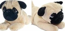 Stofftier Hund Mops Welpe klassisch, Plüschhund liegend , ca. 30 cm - 1