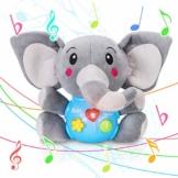 Tacobear Elefant Plüsch Spielzeug Plüschtier Elefant Interaktiv Spielzeug Musik Sound Spielzeug Elefant Kuscheltier mit Musik Licht Funktion Lernspielzeug Geschenke für Baby Kleinkinder ab 6 Monate - 1