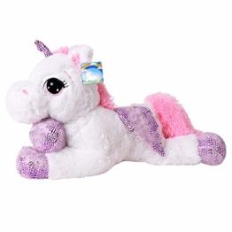 TE-Trend Plüschpferd Einhorn Unicorn liegend 60cm pink oder weiß mit lila Applikationen und Flügel (weiß) - 1