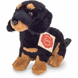 Teddy Hermann 91944 Hund Dackel sitzend schwarz-braun 19 cm, Kuscheltier, Plüschtier - 1