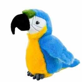 Teddys Rothenburg Kuscheltier Papagei Ara klein blau gelb 19 cm Plüsch Stofftier Plüschtier Baby Kinder Spielzeug - 1
