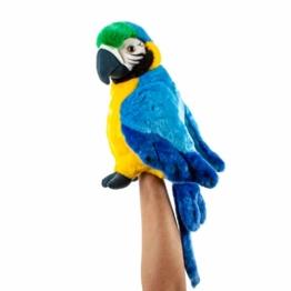 Teddys Rothenburg Kuscheltier Papagei Handpuppe blau 25 cm Stoffpapagei - 1