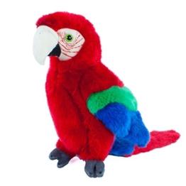 Teddys Rothenburg Kuscheltier Papagei sitzend rot 26 cm Plüschpapagei Plüschvogel - 1