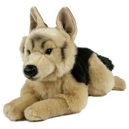 Teddys Rothenburg Kuscheltier Schäferhund 45 cm liegend braun/schwarz Plüschhund Plüschschäferhund - 1