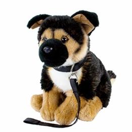 Teddys Rothenburg Kuscheltier Schäferhund mit Leine sitzend braun/schwarz 25 cm Plüschhund - 1
