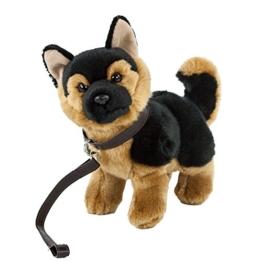 Teddys Rothenburg Kuscheltier Schäferhund mit Leine stehend braun/schwarz 28 cm Plüschschäferhund - 1