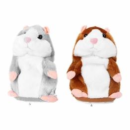 TOYANDONA 2 Stücke Sprechender Hamster Figur 16cm Plüsch Maus Elektronisches Spielzeug Weihnachten Plüschtier Stofftier Kuscheltier Baby Geschenke Kinder Haustier Interaktives Spielzeug Ohne Akku - 1