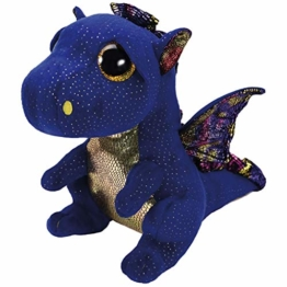 TY Blue Dragon 37260 Saffire, Drache Dunkelblau 24cm, mit Glitzeraugen, Beanie Boo's, 24 cm, Mehrfarbig - 1
