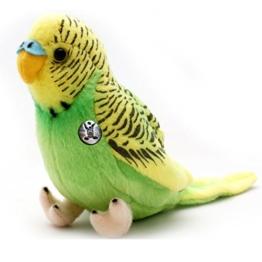 Wellensittich KIWI grün 19 cm Wildfarben Sittich Vogel Plüschtier von Kuscheltiere.biz - 1