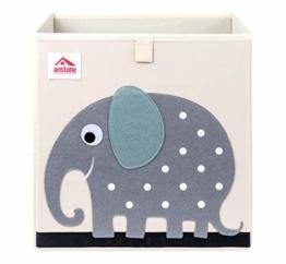 Anstore Aufbewahrungsbox Kinder 33x33x33cm, Spielzeugkiste für Kinderzimmer, Cartoon Faltbar Aufbewahrungswürfel, Korb zur Aufbewahrung von Kinder Spielsachen(Elefant) - 1