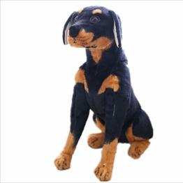Boufery Riesen Rottweiler Hund Plüschtier, Realistische Kuscheltier Black Dog Plüschtiere Puppe, Geschenk Haustier Für Kinder 70CM - 1