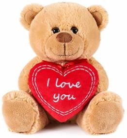 Brubaker Teddy Plüschbär mit Herz Rot - I Love You - 25 cm - Teddybär Plüschteddy Kuscheltier Schmusetier - Braun Hellbraun - 1