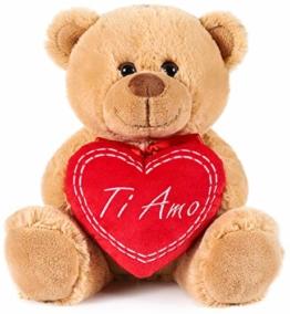 Brubaker Teddy Plüschbär mit Herz Rot - Ti Amo - 25 cm - Teddybär Plüschteddy Kuscheltier Schmusetier - Braun Hellbraun - 1