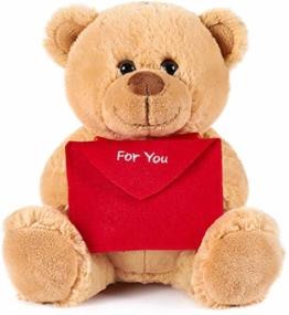 Brubaker Teddy Plüschbär mit Umschlag Rot - for You - 25 cm - Teddybär Plüschteddy Kuscheltier Schmusetier - Hellbraun - 1