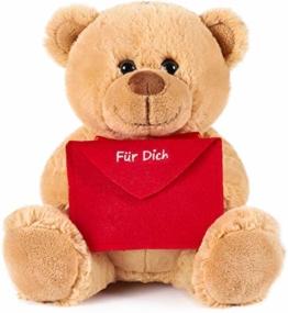 Brubaker Teddy Plüschbär mit Umschlag Rot - Für Dich - 25 cm - Teddybär Plüschteddy Kuscheltier Schmusetier - Hellbraun - 1