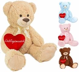 Brubaker XXL Teddybär 100 cm groß Beige mit einem Lieblingsmensch Herz Stofftier Plüschtier Kuscheltier - 1