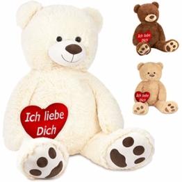 Brubaker XXL Teddybär 100 cm Weiß mit einem Ich Liebe Dich Herz Stofftier Plüschtier Kuscheltier - 1