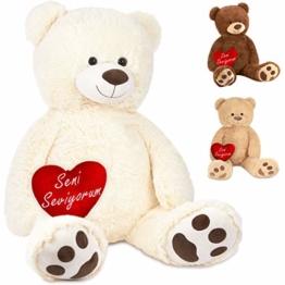 Brubaker XXL Teddybär Seni Seviyorum - 100 cm Stofftier Weiß mit einem Herz - Plüschtier Kuscheltier - 1