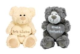 Geschenkestadl 2er Set Plüschtier Bären mit Herz und Aufschrift Ich Liebe Dich und Mein Schatz Kuscheltier Softtier Stofftier Bären Grau-Braun und Weiss - 1