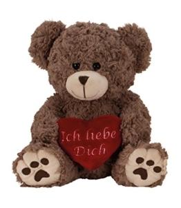 Geschenkestadl Plüschtier Bär in Grau Braun ca. 25 cm mit rotem Herz Ich Liebe Dich Kuscheltier Stofftier Teddy - 1