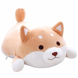 Hund Plüsch Kissen, niedliche Corgi Akita Kuscheltiere Puppe Spielzeug Geschenke, Weihnachten, Sofa Stuhl, braunes rundes Auge - 1