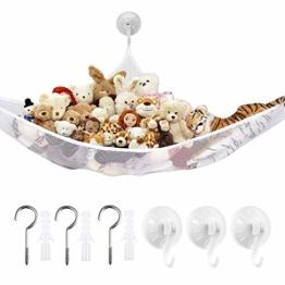 LATTCURE Spielzeug Hängematte Netze, Hängender Toy Organizer Bag Speichernetz Aufbewahrung Netz für Spielzeug Kinderraum Teddybären (weiß) - 1
