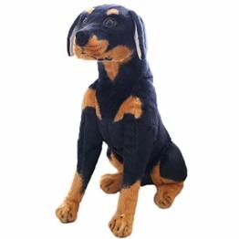 LuLezon realistische Rottweiler schwarzer Hund lebensechte Hund Welpen Plüsch Stofftier Simulation Plüschtier Spielzeug 30 cm - 1