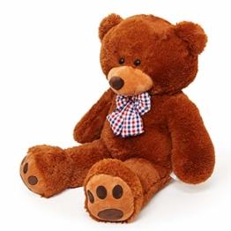 Lumaland Riesen XXL Teddybär Plüsch Kuschelbär Kuscheltier mit Kulleraugen 120 cm Braun - 1