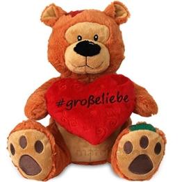 matches21 Herz Teddy Teddybär Herzteddy GROßE Liebe braun 25 cm mit Hashtag Geschenkidee Freundin Partner Valentinstag - 1