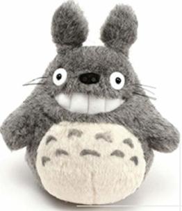 Mein Nachbar Totoro Ghibli Stofftier Plüschtier Kuscheltier Plüsch Figur: Grinsender O Totoro (Miminzuku) Grau 17 cm  - 1