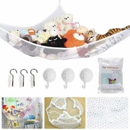 Spielzeug Hängematte, BESTZY Kinder Spielzeug Hängematte, Speichernetz für Kuscheltiere, Netz Stofftier Lagerung Net für Kuscheltiere Spielzeug 180 * 120 * 120 cm (Weiß) - 1