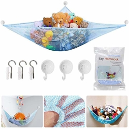 Spielzeug Hängematte, BESTZY Kinder Spielzeug Hängematte, Speichernetz für Kuscheltiere, Netz Stofftier Lagerung Net für Kuscheltiere Spielzeug 180 * 120 * 120 cm (Blau) - 1