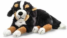 Steiff Senni Berner Sennenhund - 45 cm - Kuscheltier für Kinder - kuschelig & waschbar - schwarz/braun/weiß - liegend (079528) - 1