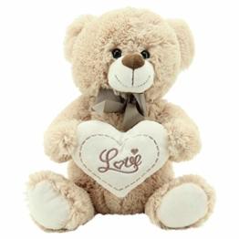 """Sweety Toys 3877 Teddy Kuschelbär Plüschbär Herzbär LOVE, supersüss mit Herz hochwertige Stickerei """" LOVE"""" beige-braun - 1"""