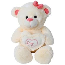 TE-Trend Riesen Teddybär Teddy Kuscheltier Plüsch Herz Kissen Bär Love You 50 cm Creme Beige - 1
