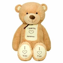 TEDBI Teddybär 200cm | Farbe Hellbraun | Groß Teddy Bear Plüschbär Stofftier Kuscheltier Plüschtier XXL Herz Teddi Bär mit Stickerei I Love You Forever Ich Liebe Dich für Immer - 1