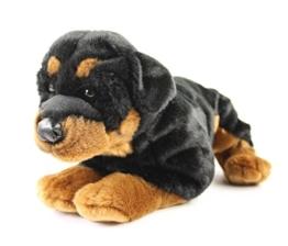 Teddys Rothenburg Kuscheltier Rottweiler Rob 45 cm liegend braun/schwarz Plüschhund Plüschrottweiler - 1
