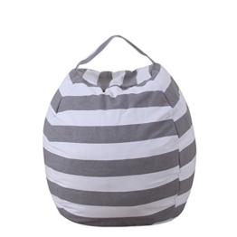 THEE Spielzeug Aufbewharungstasche Streife Sitzsack Aufbewahrung Beutel Lagerung,18 inch,Grau - 1