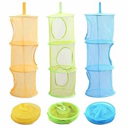 Voarge 3 Stück Set Mesh Hängender Speicher Korb, Tür-Aufbewahrung für Kinder Spielzeug-Organizer zum Aufhängen mit 3 Ebenen tragbar faltbar, für Kleine Kleidung (Blau, Grün, Gelb) - 1