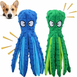 GHEART Quietsch Spielzeug für Hunde, Plüschstoff Spielzeug, Quietschendes Kauspielzeug für Welpen, Kleine und Mittelgroße Hunde, Hundespielzeug Plüschtier ohne Füllung, 2 Stück, 32cm - 1