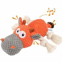 Iokheira Spielzeug für Hunde, Interaktives Hundespielzeug, stabiles Quietschende Hundespielzeuge mit Baumwollstoff und Knitterpapier, Kauknochenspielzeug für große und kleine Hunde - 1