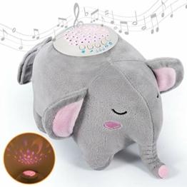 Momcozy Einschlafhilfe für Babys und Erwachsene, Tragbarer Elefant aus Plüsch Baby Spieluhr mit 15 Beruhigende Musik, 3 Farben Nachtlicht mit Sternenhimmel Projektor, Geschenk für Junge/n und Mädchen - 1
