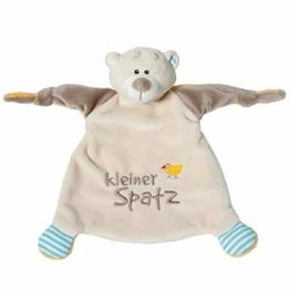 NICI Schmusetuch Bär 'Kleiner Spatz´ 25x25 cm – Schnuffeltuch ab 0+ Monaten – Kuscheltuch für Babys & Kleinkinder – Baby Kuscheltier / Schnuffeltuch – Schmusetuch für Mädchen & Jungen – 40041 - 1